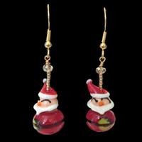 Handmade Glass Santa Earrings for Christmas