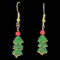 Handmade Swarovski Crystal Christmas Tree Earrings with Red Stars