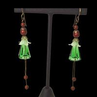 Handmade Swarovski crystal and pearl dangling Holiday earrings