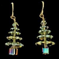 Handmade Swarovski Crystal Tree Earrings, Peridot