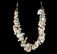 """Dancing Shell"" necklace: Shell, coral, and turquoise handmade twisted necklace. Exclusive Design by Batya for Lisa Todd Boutique in Boca Raton, FL"