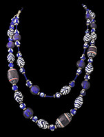One-of-a-kind exclusive Design by Batya blue-and-white beaded necklace; available only at Lisa Todd Boutique, Boca Raton, FL