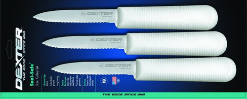 """Dexter Russell Sani-Safe 3 1/4"""" 3-Pack of Scalloped Paring Knives 15453 S104SC"""
