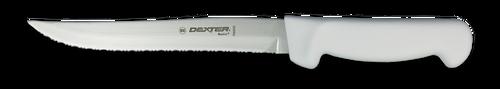 "Dexter Russell Basics 8"" Scalloped Utility Knife White Handle 31628 P94848"