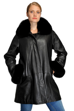 Mason & Cooper   Kim Lamb/Fox Collar Swing Coat
