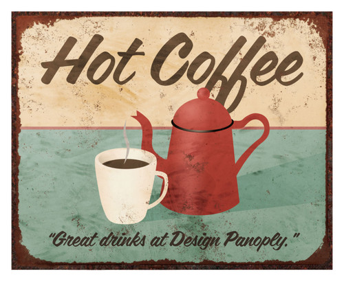 "Old Vintage Hot Coffee Sign (Replica)/Aluminum Panel 8"" x 10"" Coffee Sign w/Shadow mounts