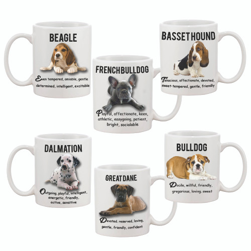 Cute Custom / Personalized 11oz Dog Mug /  with Picture of Dog & Breed Temperament