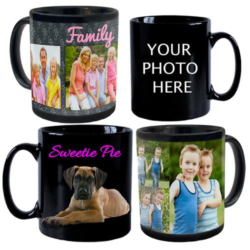 Custom Personalized 11oz Black Ceramic Mug w/ Your Photo's, Logo, Design