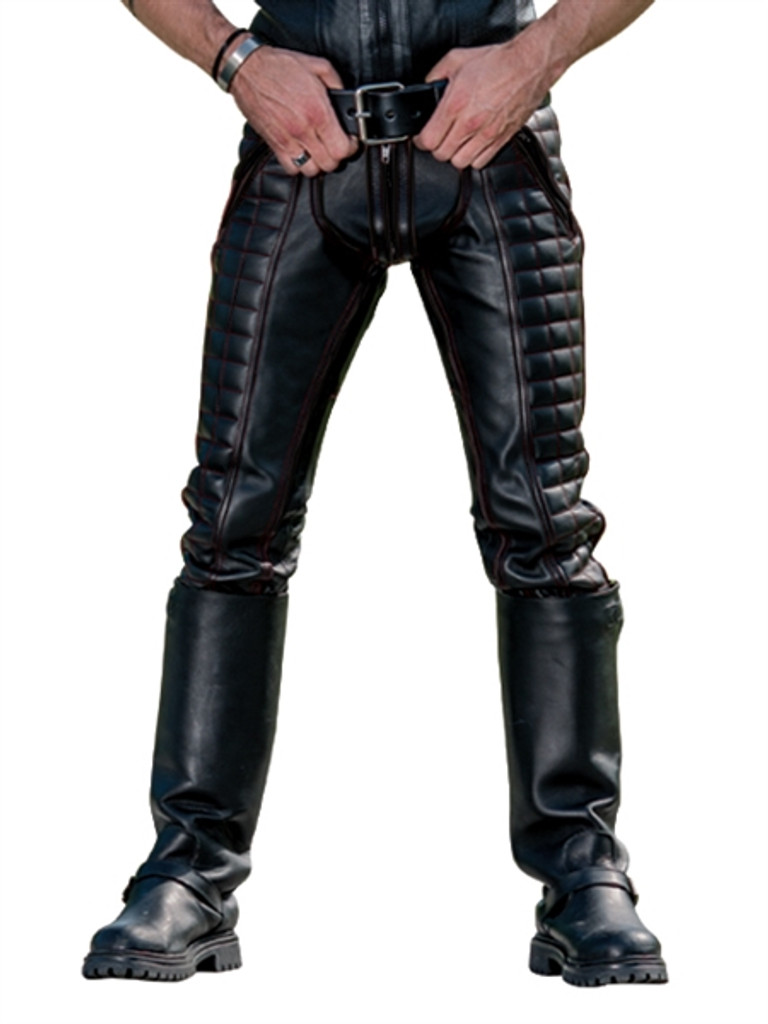 Mister B Leather Indicator Jeans Black Stitching-Piping