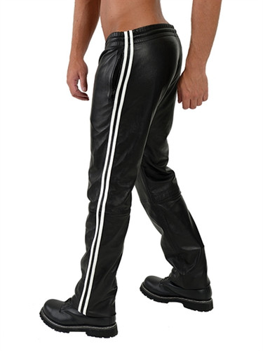 Mister B Leather Jogging Pants White Stripes