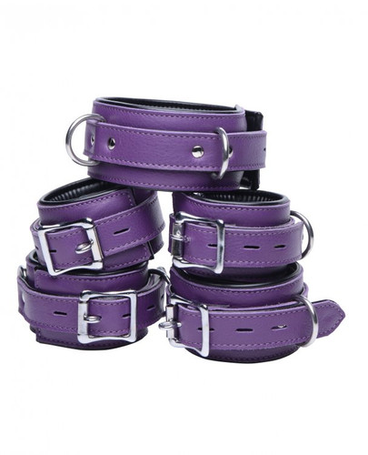 5 Piece Locking Leather Bondage Set - Purple