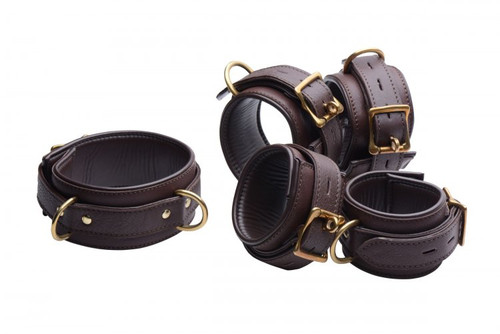 5 Piece Locking Leather Bondage Set - Brown