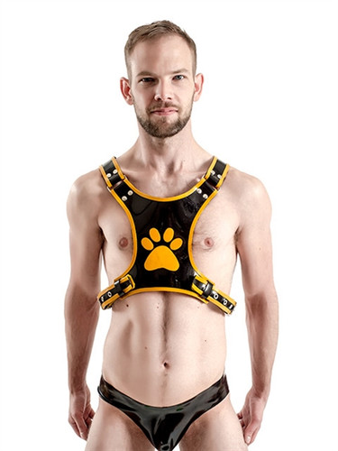 Mister B FETCH Rubber Puppy Harness - Black & Yellow