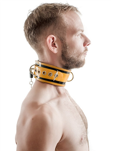 Mister B Rubber Collar Lockable Black & Yellow