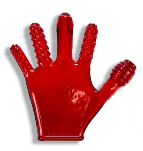 Finger Fuck Textured Glove - Red
