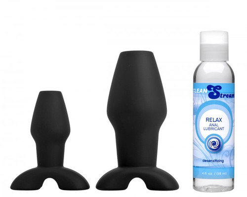 Hollow Anal Plug Trainer Set with Desensitizing Lube