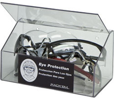 10-Pair Safety Glasses Dispenser with lid, CLEAR PLASTIC