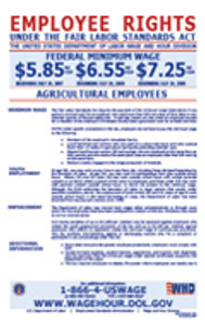 Fair Labor Standards Act (Minimum Wage) for Agricultural Workers