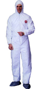 Tyvek® Coverall with Hood, Boots and Elastic Wrists (25 per case)