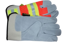 Luminator Hi-Vis Leather Palm with Reflective Stripes and Safety Cuff (PAIR)