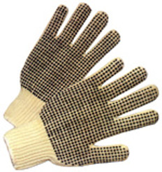 Cotton String Knit Gloves with Dots on Both Sides (sold by the dozen)