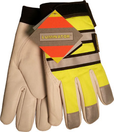Hi-Vis Grain Goatskin Multi-Task Glove w/ Velcro Closure and Thinsulate Lining, Lime (PAIR)