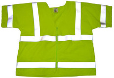Arc Flame Resistant Lime Class 3 Vest with /Sleeves and Silver stripes - Velcro Front (Sm-XL)
