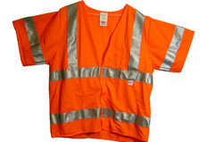 Arc Flame Resistant Orange Class 3 Vest, Velcro Front, with Sleeves and Silver Stripes