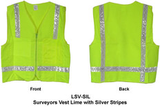 Surveyors Vest Lime w/ Silver Stripes