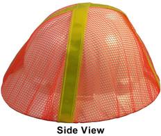 Occunomix V896-FBO Safety Helmet Mesh Hi Viz Full Brim Cover (Orange with Lime Stripes)