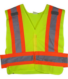 ANSI 207-2006 Public Service Safety Vests Lime with Orange/Silver Stripes 5 point Velcro® Tear-Away Size 3X-4X
