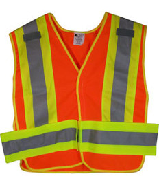 ANSI 207-2006 Public Service Safety Vests Orange with Lime/Silver Stripes 5 point Velcro® Tear-Away Size 3x-4x