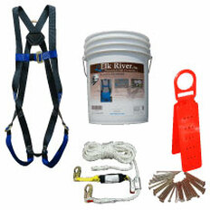 Roofers Kit 50 Foot Line with Attached Rope Grab, Reusable Roof Anchor