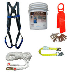Roofers Kit 50 Foot Line with 3 Foot Web Lanyard with Reusable Roof Anchor