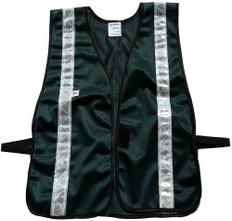 Safety Vest Soft Mesh Dark Green with Silver Stripes