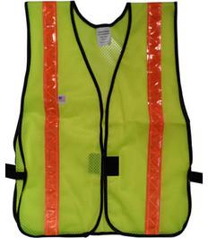 Safety Vests  PVC Coated Lime  (1.5 Inch Orange Stripes)