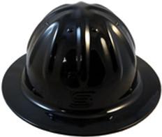 Aluminum Skull Bucket  Full Brim Safety Helmets with Ratchet Liners – Black