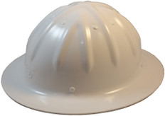 Aluminum Full Brim Safety Helmets with Ratchet Liners – White