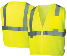 Pyramex  Hi-Vis Self Extinguishing Mesh  Class 2 Safety Vests -  Lime w/ Silver Stripes - RVZ2110SE