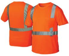 Pyramex  Hi-Vis T-Shirts, 1 Pocket  Class 2 - Orange w/ Silver Stripes - RTS2120