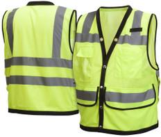 Pyramex  Hi-Vis 8 Pocket Safety Vest  Class 2 - Lime w/Black Trim - RVMS2810