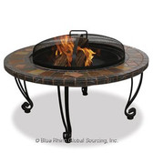 """Firepit with Slate Mantel and Copper Accents 34"""""""