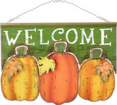 "Triple Pumpkins ""WELCOME"" Sign"