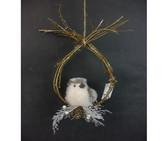 Fabric/Fur Glitter Bird on Pirch Ornament