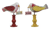 9-1/4''H Wooden Bird Decor 2 Asst