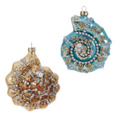 "4.5"" Glass Jeweled Shell Ornament"