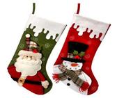 "20"" Dripping Snow Santa or Snowman Stocking"