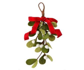 "12"" Felt Misletoe Branch with Bow Ornament"
