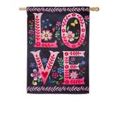 Wildflower Love Chalkboard House Suede Flag