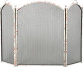 """Floral Design 3 Fold Arched Screen 34""""H x 52""""W"""